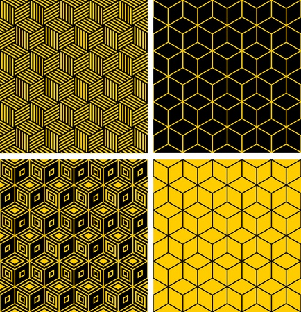 cubic: Seamless patterns set. Geometric textures with optical illusion effect.