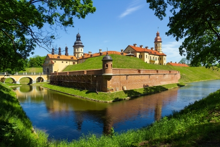 Medieval castle and moat around it in Nesvizh, Belarus
