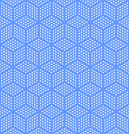 Seamless geometric blue pattern. Optical illusion texture. Vector art.  イラスト・ベクター素材