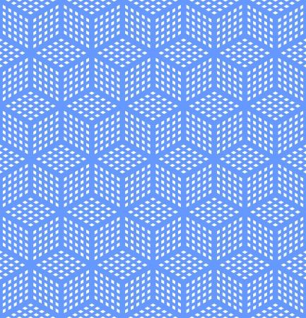 Seamless geometric blue pattern. Optical illusion texture. Vector art. Illustration