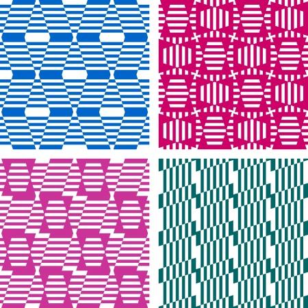 Seamless geometric patterns. Textures set. Vector art. Illustration