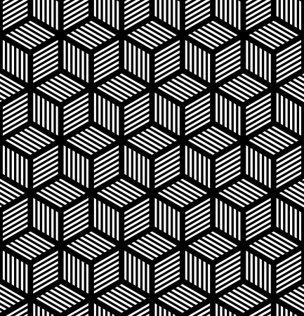 Seamless geometric texture in op art design. Vector art.  イラスト・ベクター素材