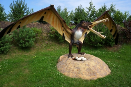 Cearadactylus  frightfull finger    Classification - Pterodactyloidea, wingspan 5,5 m, weight 15 kG  Model of dinosaur-pterodactyl in Jurassic park in Leba, Poland