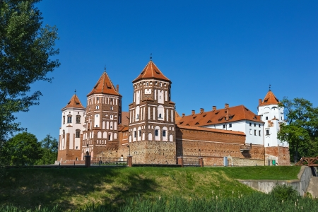 loopholes: Medieval castle in Gothic style in Mir (Belarus) Editorial