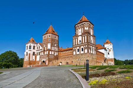 loopholes: Medieval castle in Gothic style in Mir (Belarus). Editorial