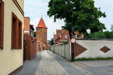 loopholes: Gothic fortification tower in Lebork, Poland.
