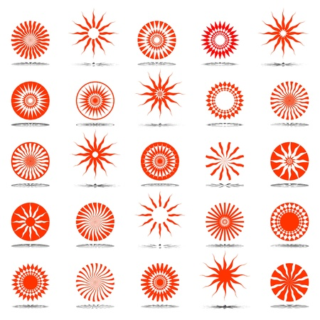 Sun icons. Design elements set. Illustration