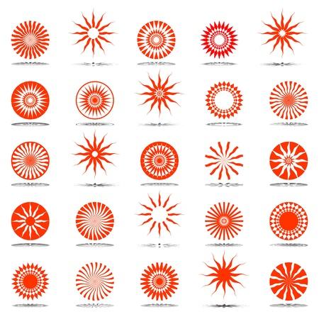circular silhouette: Sun icons. Design elements set. Illustration