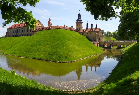 Medieval castle and moat around it in Nesvizh, Belarus.