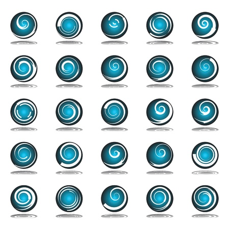 Circle design elements with spiral motion. Vector