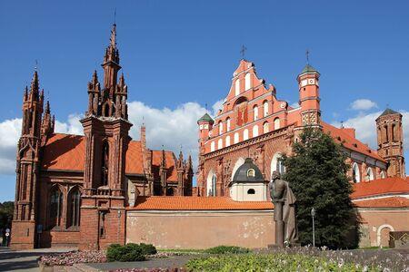 mickiewicz: St. Annas Church and Saints Francis and Bernardine Church and Adam Mickiewicz statue in Vilnius,  Lithuania.