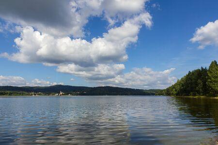 lipno: Lipno lake and  small town Frymburk on the lakeside, Czech Republic