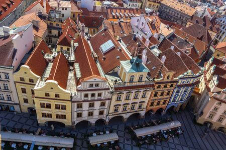 overlook: Prague, Old Town Square. View from the Town Hall tower. Czech Republic.