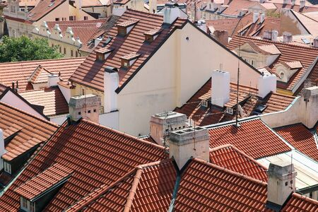 Old tiled roofs of Prague, Czech Republic.  photo