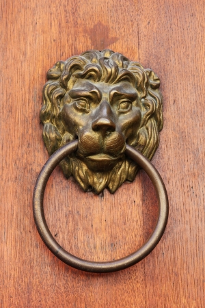 knocker: Decorative lion head door knob, Prague, Czech Republic.