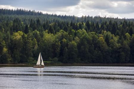 lipno: Sailboat on Lipno lake, Czech Republic   Stock Photo