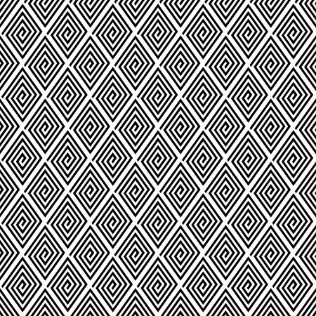 iteration: Seamless texture geometrica con elementi diamantati a spirale. Vettoriali
