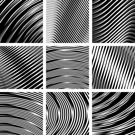 Abstract textured backgrounds set in op art design. No gradient.  Vector