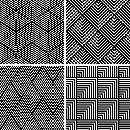 checked: Seamless geometric patterns  Textures set  Vector art