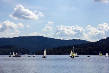 lipno: Sailing yachts on Lipno lake, Czech Republic