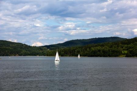 lipno: Sailing yachts on Lipno lake, Czech Republic.
