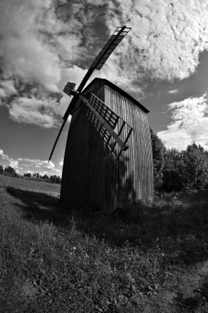 ethnographical: Old wooden windmill near Minsk, Belarus.