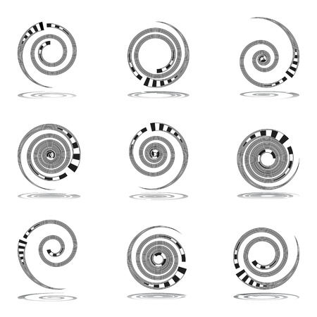 volute: Spiral movement. Design elements set. Vector art. Illustration