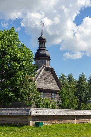 ethnographical: Old wooden church in museum near Minsk, Belarus  Stock Photo