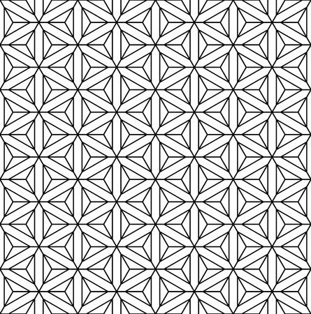 Seamless geometric op art texture  Hexagons, diamonds, triangles and stars pattern  Vector art  Illustration