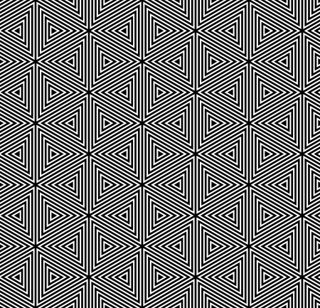 Seamless geometric op art pattern  Striped hexagons, diamonds and triangles texture  Vector art