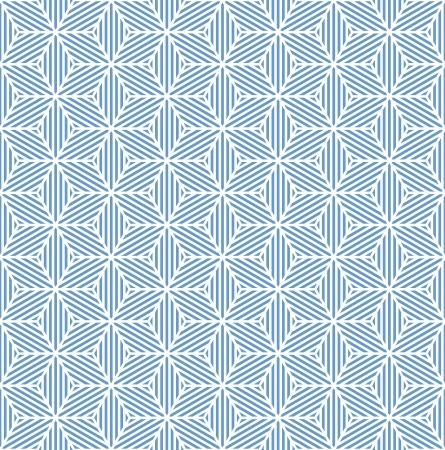 Seamless blue geometric texture. Striped diamonds pattern. Vector art.