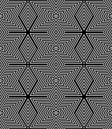 Seamless texture geometrica op art diamanti disegno a righe e stelle Modello di vettore arte Vettoriali