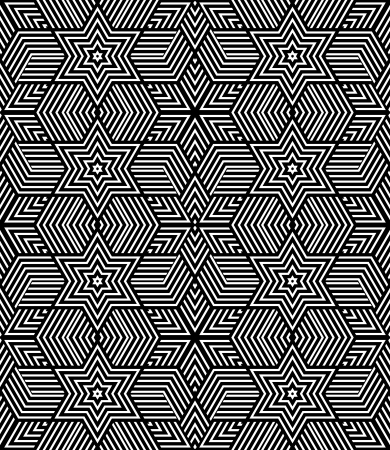Seamless geometric texture  Op art design  Striped diamonds and stars pattern  Vector art