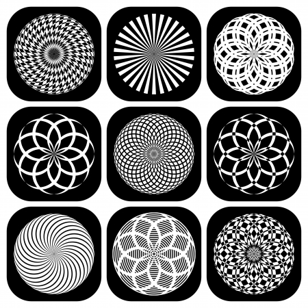 Design elements set. Decorative patterns in circle shape. Vector art. Vector