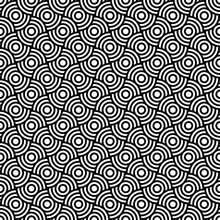 Seamless op art texture with circle elements. Vector art.