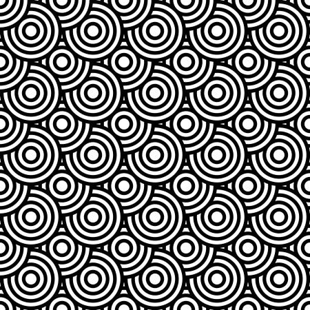 Seamless op art texture with circle elements. Vector art. Vector