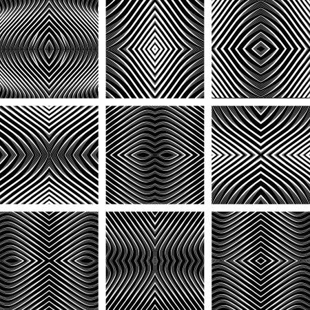 lustrous: Geometric textures set. Symmetric patterns in op art design. Vector art. No gradient.