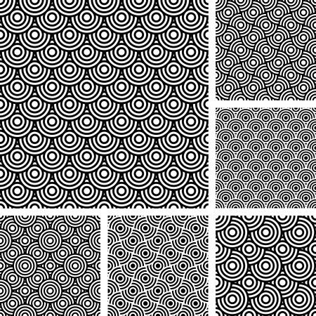 Seamless patterns set. Textures in op art design with circle elements. Vector art.