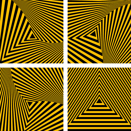 Abstract backdrops set. Striped triangles textures. Vector art.