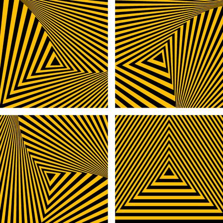 arte optico: Telones de fondo abstracto. Striped triángulos texturas. Vector el arte. Vectores