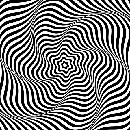 Illusion of wavy rotation movement. Abstract op art background. Vector art.