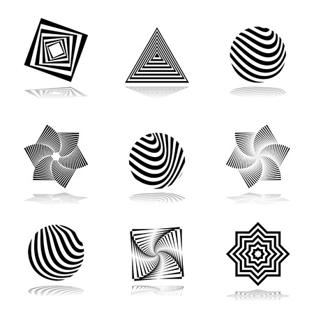 symbolics: Design elements set. Abstract graphical icons. Vector art.