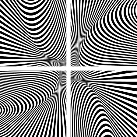 op: Illusion textures set. Abstract op art . Vector art. Illustration