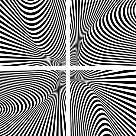 Illusion textures set. Abstract op art . Vector art. Ilustrace