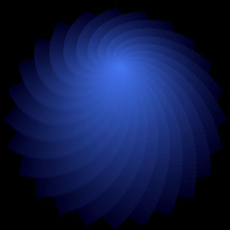 luminescence: Rotation shape. Abstract deep blue backdrop. Vector art. No gradient. Illustration