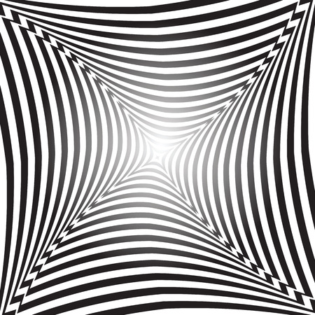 distortion: Illusion of space distortion and movement. Abstract op art background. Vector art.