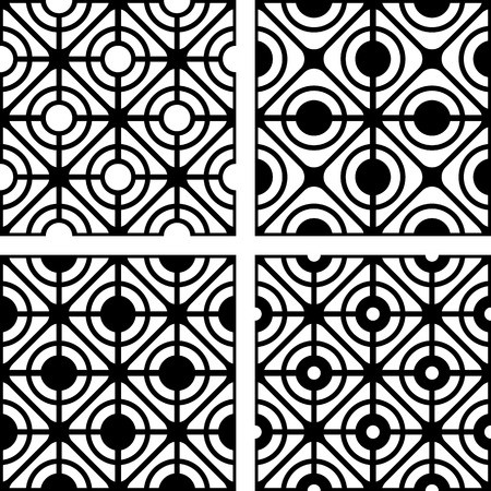 Lattice patterns set. Seamless geometric textures. Vector art. Vector