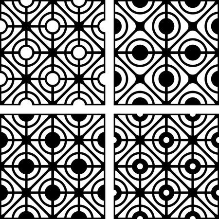 Lattice patterns set. Seamless geometric textures. Vector art. Vector