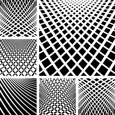 Optical illusion backgrounds set. Vector art. Vector