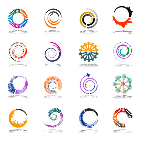 Spiral and rotation design elements. Abstract icons set. Vector art. Illustration